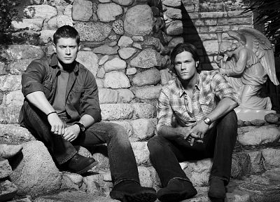 Supernatural, men, grayscale, Jensen Ackles, Jared Padalecki - random desktop wallpaper