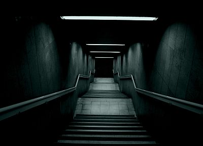 creepy, architecture, gray, scary, stairways, darkness - desktop wallpaper