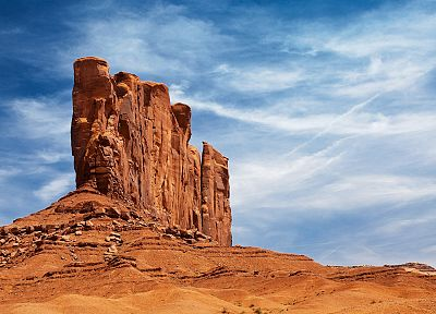clouds, landscapes, sand, deserts, rocks, skyscapes, rock formations - related desktop wallpaper