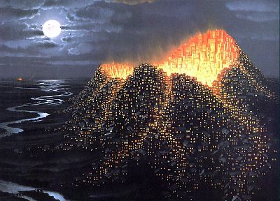cityscapes, volcanoes, buildings, fantasy art, towns, artwork, rivers - related desktop wallpaper