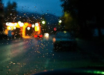 lights, cars, glass, water drops, rain on glass - random desktop wallpaper