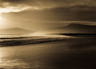 landscapes, nature, coast, sepia, beaches - related desktop wallpaper