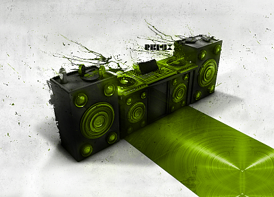 green, music, DJ, remix - random desktop wallpaper