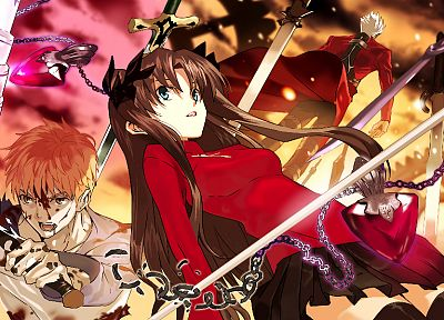 Fate/Stay Night, Tohsaka Rin, blood, skirts, weapons, Emiya Shirou, Type-Moon, chains, blades, anime girls, swords, Archer (Fate/Stay Night), Fate series - random desktop wallpaper