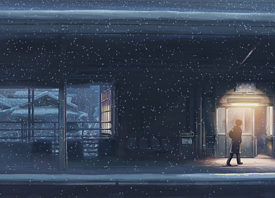 snow, trains, Makoto Shinkai, train stations, 5 Centimeters Per Second, artwork - desktop wallpaper
