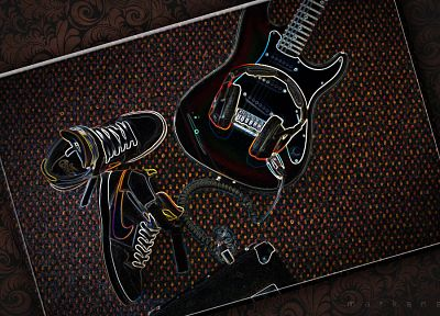 abstract, guitars, Nike - random desktop wallpaper