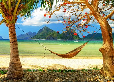ocean, paradise, hammock, beaches - random desktop wallpaper