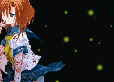 blood, redheads, school uniforms, Higurashi no Naku Koro ni, Ryuuguu Rena, anime girls - random desktop wallpaper