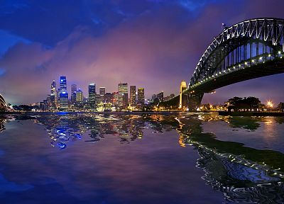 cityscapes, night, Sydney, Australia, Sydney Harbour Bridge - desktop wallpaper