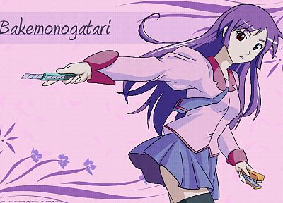 school uniforms, Bakemonogatari, Senjougahara Hitagi, anime, Monogatari series - related desktop wallpaper