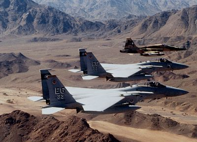 aircraft, military, deserts, planes, F-15 Eagle, F-5 Freedom Fighter - random desktop wallpaper