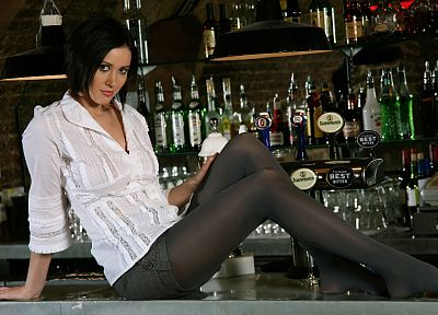 brunettes, legs, women, stockings, bar, pantyhose, tights, Carole Hunt - related desktop wallpaper
