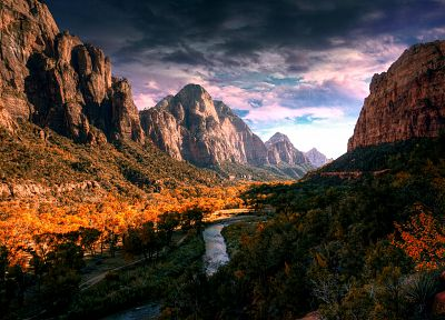 mountains, clouds, landscapes, nature, trees, HDR photography, rivers - desktop wallpaper