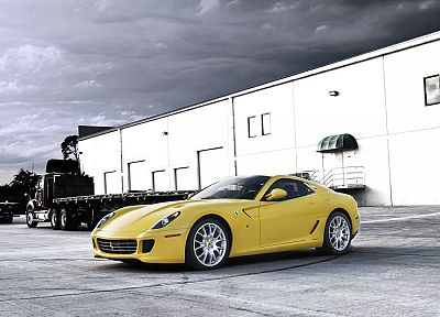 cars, Ferrari 599, Ferrari 599 GTB Fiorano, yellow cars - random desktop wallpaper