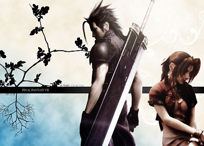video games, Final Fantasy VII Advent Children, Zack Fair, Aerith Gainsborough - random desktop wallpaper