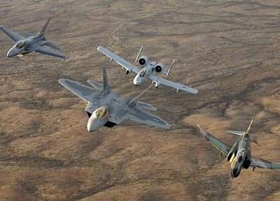 aircraft, military, raptor, F-22 Raptor, vehicles, F-4 Phantom II, A-10 Thunderbolt II, F-16 Fighting Falcon - desktop wallpaper