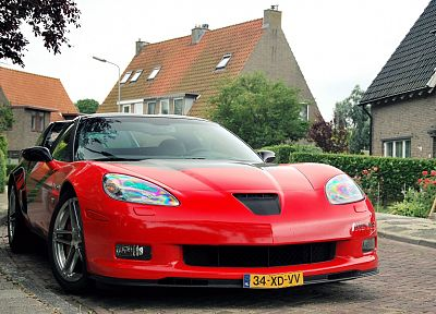 red, cars, tuning, Corvette, Chevrolet Corvette C6, front angle view - random desktop wallpaper