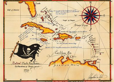 pirates, maps, Caribbean, Calico Jack Rackam - random desktop wallpaper