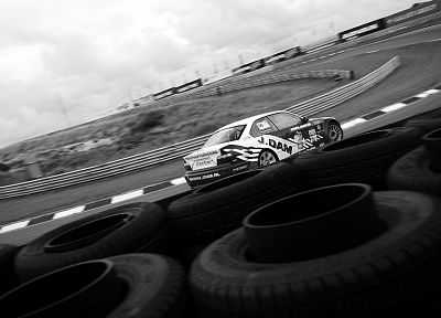 cars, monochrome, car tires, greyscale, race tracks - desktop wallpaper
