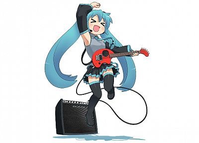 Vocaloid, Hatsune Miku, guitars, simple background, detached sleeves - desktop wallpaper