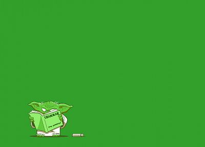 Star Wars, artwork, Yoda, simple background, green background - random desktop wallpaper