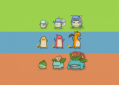 Pokemon, Bulbasaur, Venusaur, Ivysaur, Wartortle, Charmeleon, Squirtle, Blastoise, alternative art, Charizard, Charmander - related desktop wallpaper