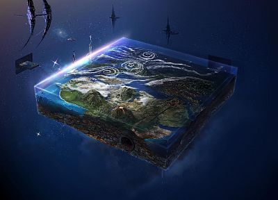 3D view, outer space, Earth - random desktop wallpaper