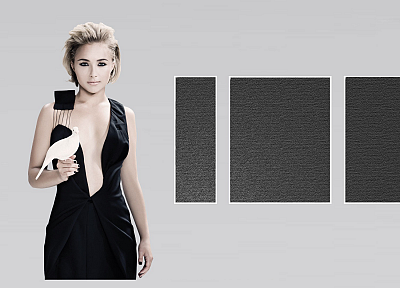 women, actress, Hayden Panettiere, doves, celebrity, black dress - desktop wallpaper