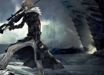 clouds, cityscapes, weapons, artwork, anime boys, Redjuice - desktop wallpaper