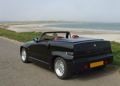 black, cars, Alfa Romeo, vehicles, Zagato, Alfa Romeo RZ, sea, rear angle view, beaches - desktop wallpaper