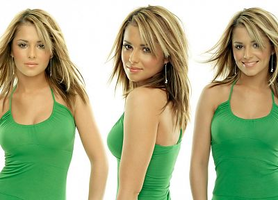 boobs, women, tank tops, Cheryl Cole, singers, collage - desktop wallpaper