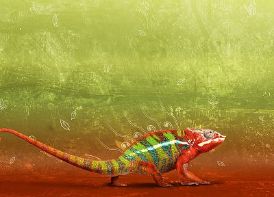 chameleons, artwork, colors - desktop wallpaper