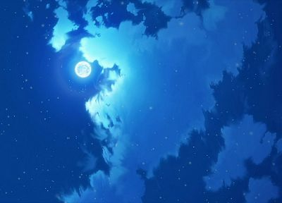 clouds, Moon, anime, skyscapes - desktop wallpaper
