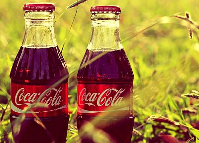 grass, bottles, Coca-Cola - desktop wallpaper