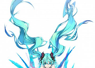 Vocaloid, Hatsune Miku, long hair, bodysuits, aqua eyes, aqua hair, Miwa Shirow, Miku Append, simple background, anime girls, white background - desktop wallpaper