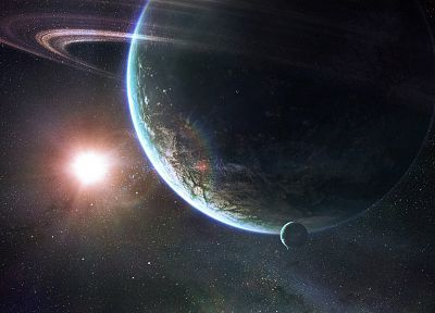 outer space, stars, planets, Moon, rings - related desktop wallpaper