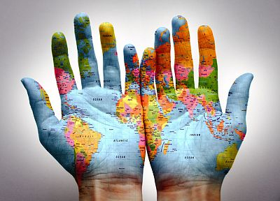 hands, worldmap - random desktop wallpaper