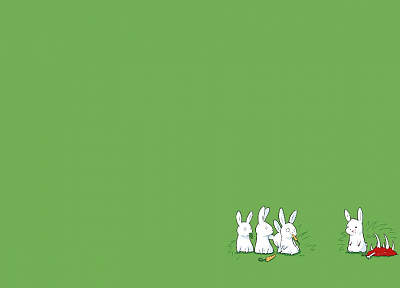 green, minimalistic, rabbits, carrots - desktop wallpaper