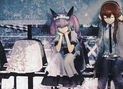 headphones, redheads, pink hair, sitting, anime, Steins;Gate, Makise Kurisu, anime girls, Akiha Rumiho - related desktop wallpaper
