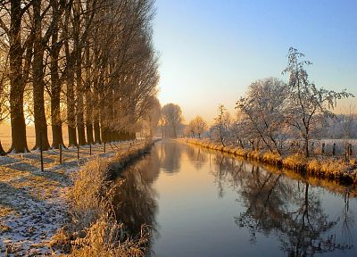 landscapes, winter, trees, riverside - random desktop wallpaper