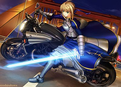night, armor, Saber, motorbikes, Fate/Zero, Fate series - random desktop wallpaper
