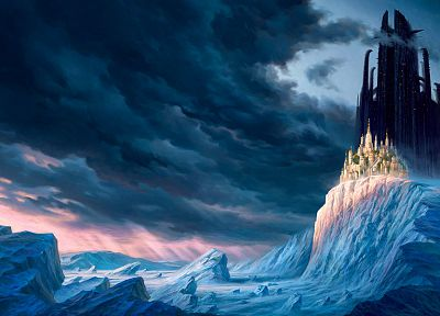 winter, castles, fantasy art, Mortal Engines, cities - desktop wallpaper