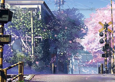 cherry blossoms, Makoto Shinkai, scenic, 5 Centimeters Per Second, railroad crossing - desktop wallpaper