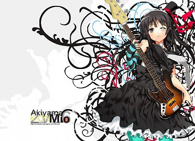 K-ON!, guitars, Akiyama Mio, simple background, anime girls - related desktop wallpaper