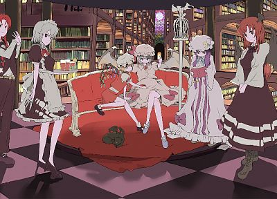 Touhou, wings, dress, maids, redheads, library, Izayoi Sakuya, books, knives, white hair, Flandre Scarlet, Koakuma, Hong Meiling, Patchouli Knowledge, Remilia Scarlet, anime girls, Embodiment of Scarlet Devil - related desktop wallpaper