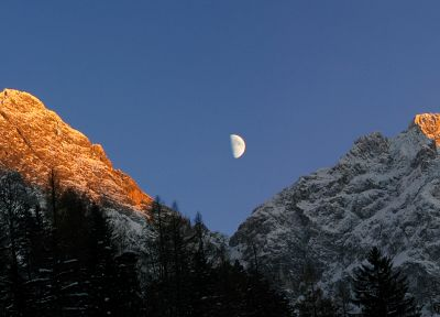 mountains, Moon, panorama - random desktop wallpaper