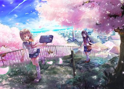 brunettes, cherry blossoms, cityscapes, flowers, school uniforms, long hair, bread, socks, brown eyes, short hair, bags, anime girls, black hair - related desktop wallpaper