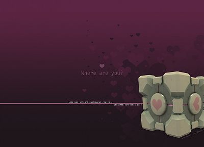 Valve Corporation, Portal, Companion Cube - random desktop wallpaper
