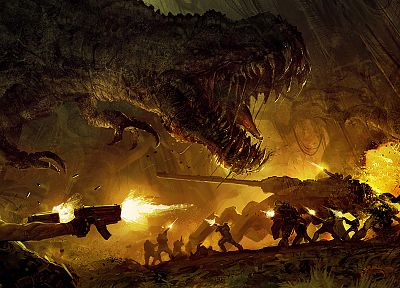 military, fire, dinosaurs, weapons, Turok, fantasy art, artwork - desktop wallpaper