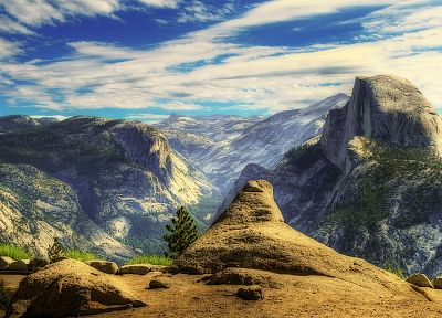 mountains, clouds, landscapes, nature, HDR photography - related desktop wallpaper